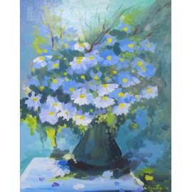 Obraz - Akryl - Modré kvety - akad. mal. Varuzhan Aghamyan