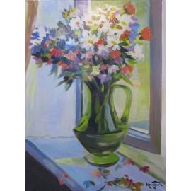 Obraz - Akryl - Poľné kvety na parapete - akad. mal. Varuzhan Aghamyan