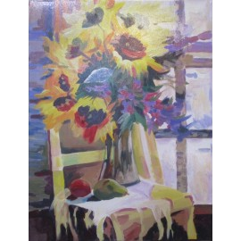 Obraz - Akryl - Slnečnice na stoličke - akad. mal. Varuzhan Aghamyan