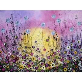 Obraz - Akryl na plátne - Lúka vo fialovom - Silvia Sochuláková