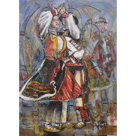 Obraz - Kombinovaná technika na plátne - Vo víre tanca - Gorali - Mgr. Art. Ľubomír Korenko
