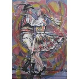 Obraz - Kombinovaná technika na plátne - Pieseň o tanci - Mgr. Art. Ľubomír Korenko