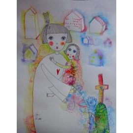 Obraz - Kombinovaná technika - Láska - Mgr. Marcela Vilhanová