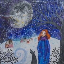 Obraz - Akryl - Zimná prechádzka - Silvia Sochuláková