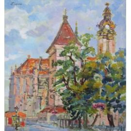 Obraz - Olejomaľba - Košice, Urbanova veža a Dom sv. Alžbety- Akad. mal. Ľudmila Studenniková