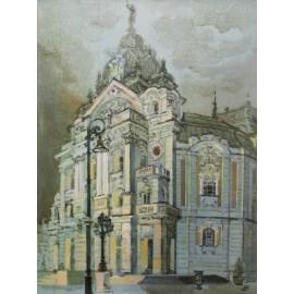 Obraz - Olejomaľba - Košice, Divadlo - Akad. mal. Ľudmila Studenniková