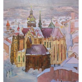 Obraz - Olejomaľba - Košický Dóm v zime - Akad. mal. Ľudmila Studenniková