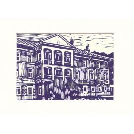 Grafika - Linoryt- Bardejovské kúpele č.1 - Mgr. Art. Jaroslav Staviščák