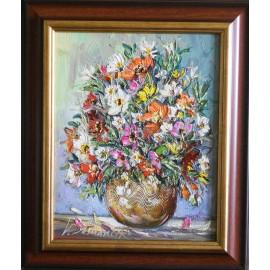 Obraz - Olejomaľba na plátne - Kytička záhradné kvety - Vladimír Semančík