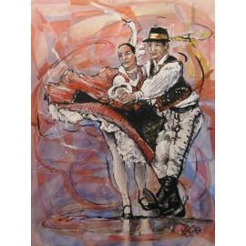 Obraz - Kombinovaná technika - Maratón tanca - Mgr. Art. Ľubomír Korenko
