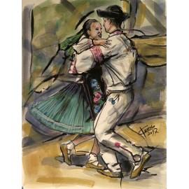 Obraz - Akvarel - Vo víre tanca - Mgr. Art. Ľubomír Korenko