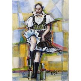 Obraz - Akvarel - Fľaškový tanec - Mgr. Art. Ľubomír Korenko