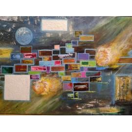 Obraz - Abstraktná maľba - Okná do vesmíru III-Bc. Helena Vožňáková