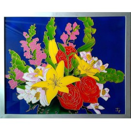 Obraz - Maľba na skle - Kvety - Jana Gubová