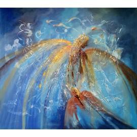 Obraz - Abstraktná maľba-Anjel s čiernou tvárou -Ľudo Ševčík