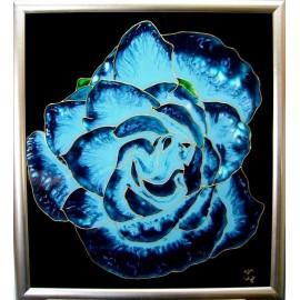 Obraz - Maľba na skle - Tyrkysová ruža - Jana Gubová