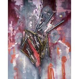 Obraz - Abstraktná maľba-Trojhlavý výmysel -Ľudo Ševčík