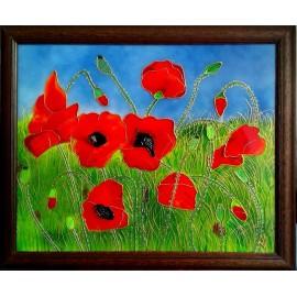Obraz - Maľba na skle - Maky - Jana Gubová