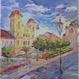 Obraz- Olejomaľba- Hlavná ulica - Igor Slivka