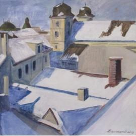 Obraz- Akryl- Zasnežené Košice- Ing. Arch. Eva Lorenzová