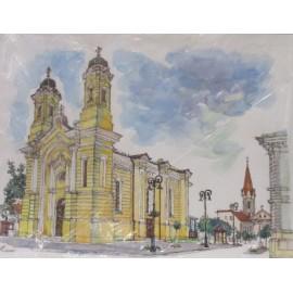 Obraz - Akvarel - Pohľad na gréckokatolícky a dominikánsky kostol - Akad. mal. Ľudmila Studenniková