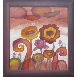 Obraz - Maľba na hodváb - Kvety - Beáta Halandová