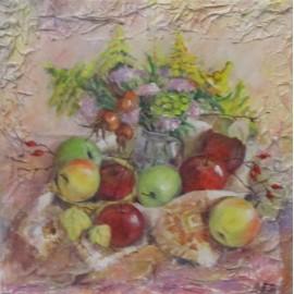 Obraz - Akryl- Zátišie s jablkami - Inna Gusková