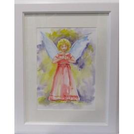 Obraz - Akvarel - Modliaci sa anjelik - Mária Lenárdová