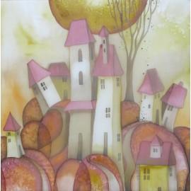 Obraz - Maľba na hodváb - Mesto- Beáta Halandová