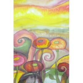 Obraz - Maľba na hodváb - Kvety- Beáta Halandová