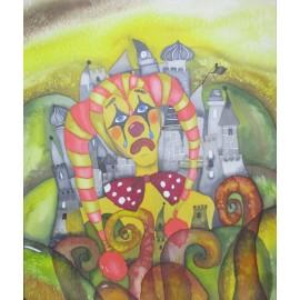 Obraz - Maľba na hodváb - Zámocký šašo- Beáta Halandová
