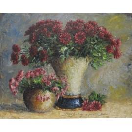 Obraz - Olejomaľba - Zátišie s chryzantémami- Michal Sabo Balog