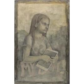 Obraz - Kombinovaná technika - Dievča s tabletom - Mgr. Art. Zita Aranyasz