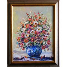 Obraz - Olejomaľba - Chryzantémy - Vladimír Semančík