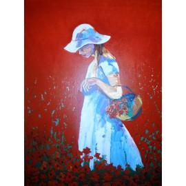 Obraz- Akryl- Žena v klobúku Mgr. Eduardo Sosa