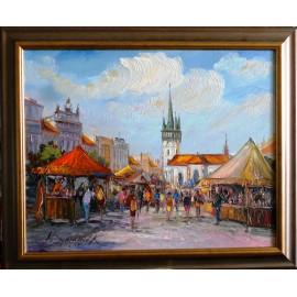 Obraz - Olejomaľba - Farmárske trhy - Vladimír Semančík