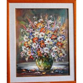 Obraz - Olejomaľba - Záhradné kvety v pasparte - Vladimír Semančík