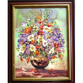 Obraz - Olejomaľba - Záhradné kvety - Vladimír Semančík