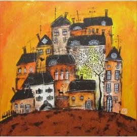 Obraz - Akryl - Domčeky v oranžovom - Silvia Sochuláková