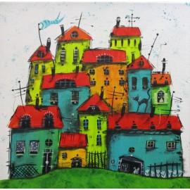 Obraz - Akryl na plátne - Mestečko- Silvia Sochuláková