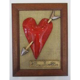 Keramika-Srdce v drevenom ráme -Mihoková