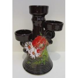 Keramika- Svietnik s motívom makov - Ján Mokriš