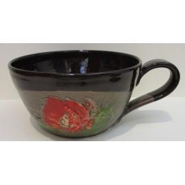 Keramika - Miska s úchytom s motívom makov - Ján Mokriš