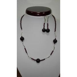 Granát+Ag925 - náhrdelník,náušnice