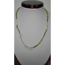 Olivín-horský krištáľ-žltý diamant+Ag925 - náhrdelník