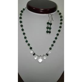 Náhrdelník,prírodný smaragd a horský kryštál, Ag 925 a náušnice
