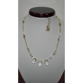 Citrín - mesačný kameň - horský krištáľ - swarovského krištáľ - náhrdelník,náušnice