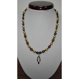 Riečne perly-shell perly-granát - náhrdelník