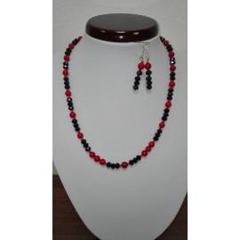 Koral -sklo - náhrdelník,náušnice