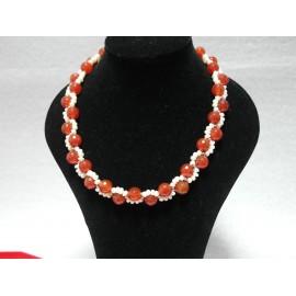 Perla-karneol-náhrdelník, náramok a náušnice
